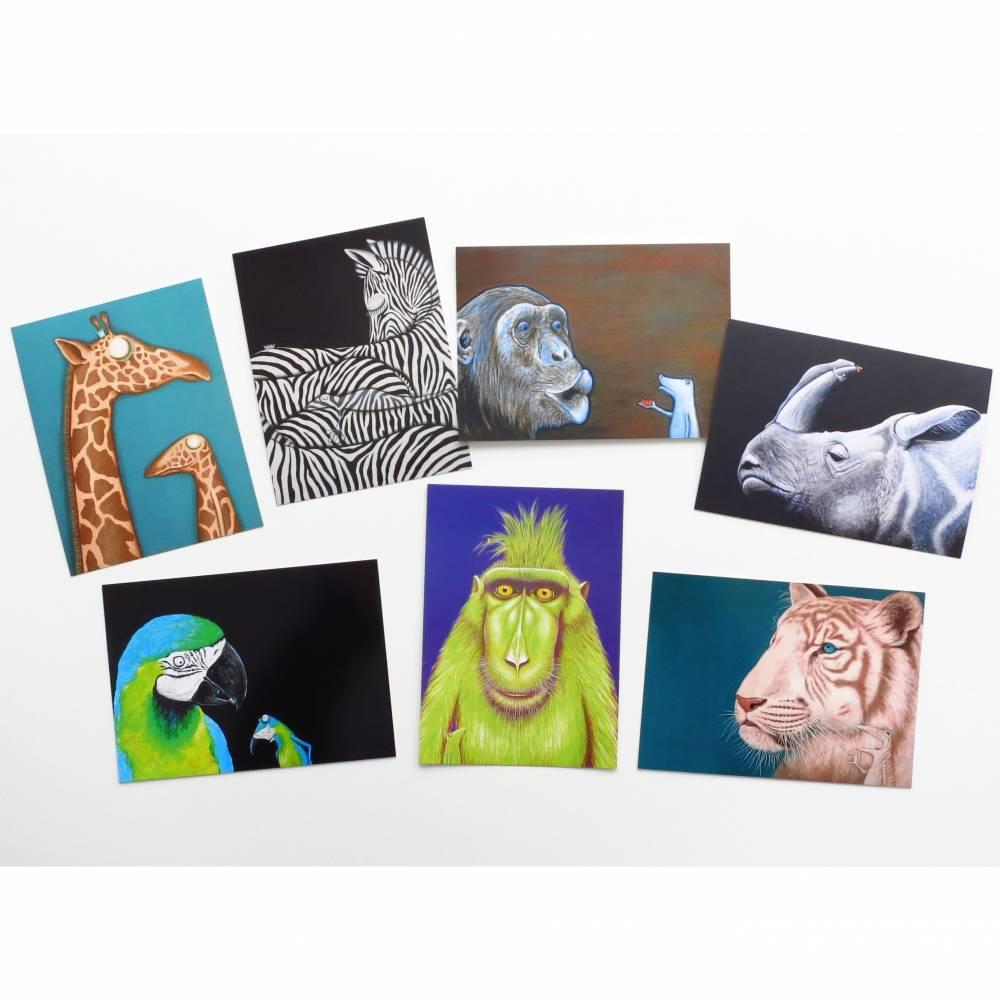 KUNZTPOSTKARTEN im 7er Set, 7 Postkarten, Kunst Postkarten, Tier Postkarten, Tiere, Frosch Postkarten, witzige Postkarten, lustige Karten Bild 1