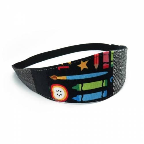 Haarband zum Wenden Patchwork Schule schwarz bunt Stirnband Abschminkband Wendehaarband