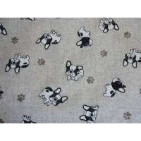 10,70 EUR/m Dekostoff Canvas süße Bulldogge / Hunde auf hellbeige / Leinenoptik