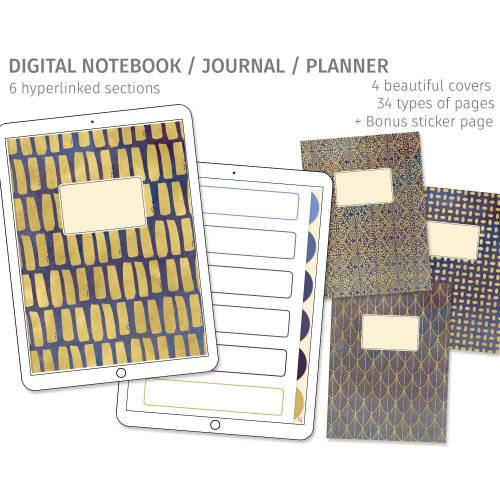 Digitales Notizbuch, Journal, Planer für Goodnotes, 6 Register, 4 Cover, passende Sticker