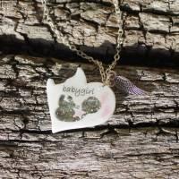 Herzförmige Erinnerungskette für Sternenkind Babygirl mit Sternenstaub, Babyfuss und Engelsflügel-Charm Sofortkauf Bild 1