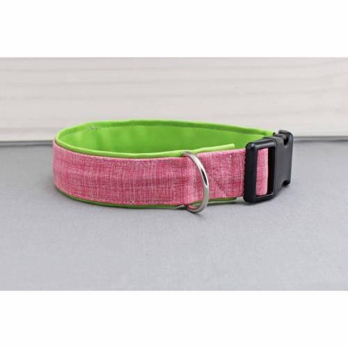 Hundehalsband mit Muster, meliert, rosa und weiß, mit Kunstleder in hellgrün, pink, grün, modern, Hund, Halsband