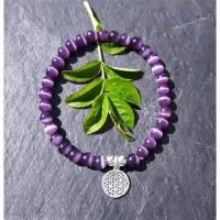 Violettes Cateye-Perlenarmband mit Blume des Lebens aus 925 Silber Bild 1