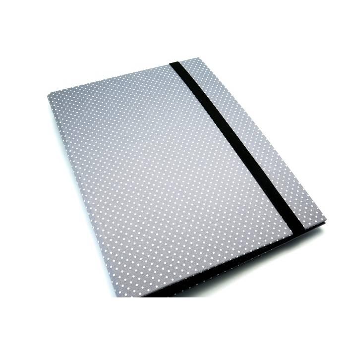 Organizer DIN A4 Schreibmappe Punkte grau-weiß Ordner Ringbuchordner Ringbuch Filz vegan   Bild 1