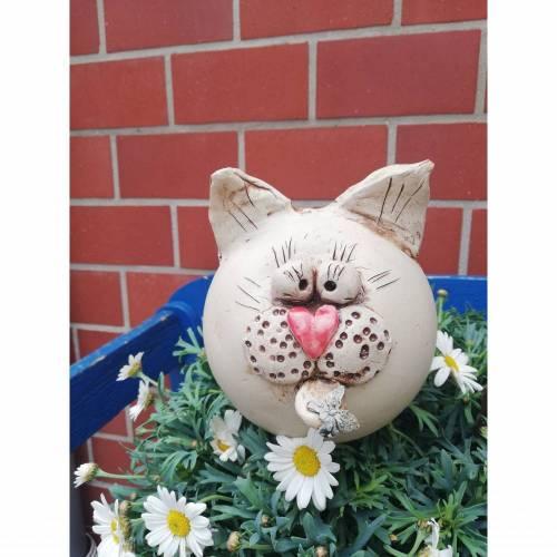 Keramik Gartenstecker Katze Gartendeko Kätzchen Herz