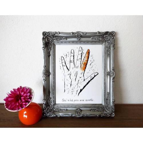 Das ist keine Möhre, Magritte Interpretation, Linoldruck, coloriert,
