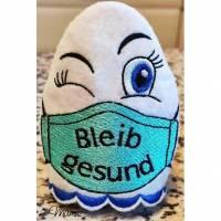 """ITH / Stickdatei  """"  Eierwärmer - bleib gesund  """"  für den perfekten Frühstückstisch  -  99,8 x 98,4  -  div. Formate Bild 1"""