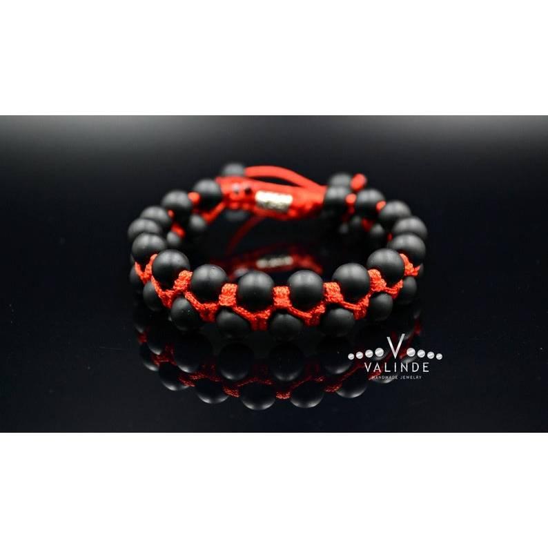 Herren Edelstein Doppel-Armband Onyx mit Knotenverschluss, Makramee Armband, Geschenk für Mann, 8 mm Bild 1