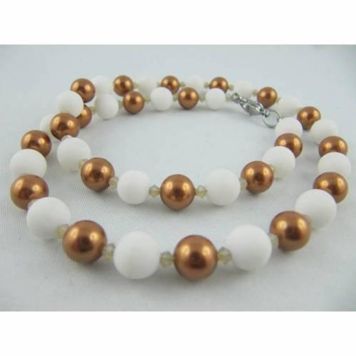 Kette Braun Kupfer Perlen Jade Weiß (611)