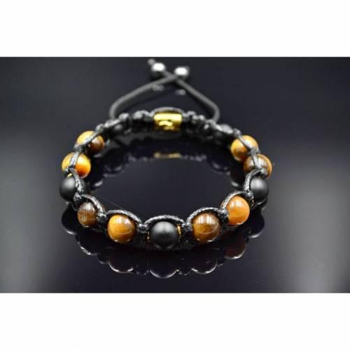 Herren Armband aus Edelsteinen Tigerauge Onyx und Hämatit mit Knotenverschluss, Makramee Armband, 10 mm
