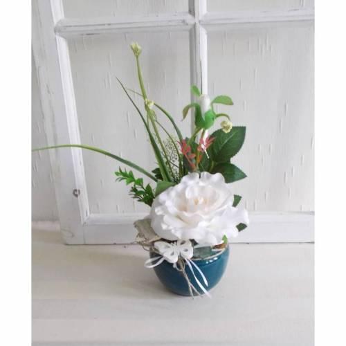 Tischgesteck mit weißer Rose, Gesteck, klassisch