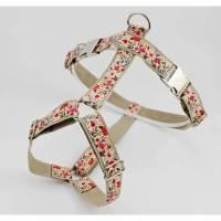 Hundegeschirr mit Blumen, rosa und beige, vintage, für Hunde, shabby, Hundezubehör, Welpe, Hochzeit, romantisch, geblümt Bild 1