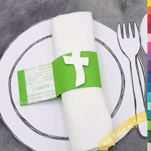 Serviettenhalter-Tischkarte Konfirmation, Firmung oder Kommunion - Kreuz