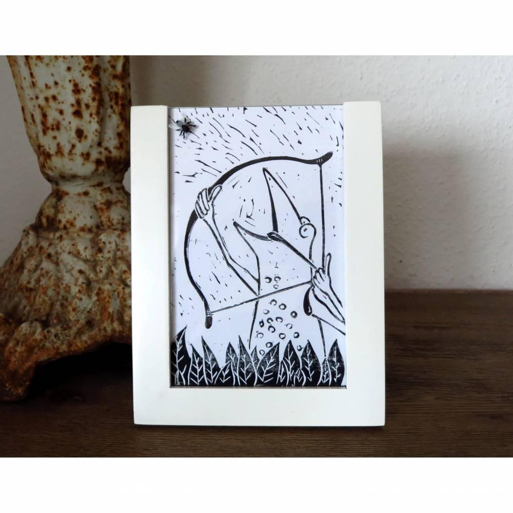 Robin Frog, Linoldruck, Robin hood, Linolschnitt, handgeschnitzt, handgedruckt, Wohnzimmer, Geschenk, Froschbild, Fliege, witziges Bild Bild 1