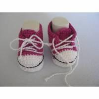 Pinke  Babyschuhe/Babyturnschuhe aus Baumwolle Bild 1