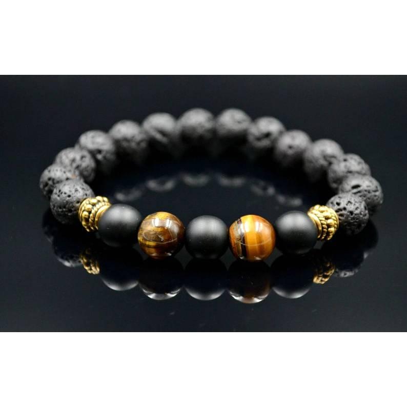 Herren Armband aus Edelsteinen Tigerauge Onyx und Lava, Elastisches Armband, Geschenk für Mann, 10 mm Bild 1