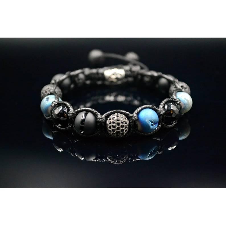 Herren Buddha Armband aus Edelsteinen Druzy Achat Onyx Lava Achat und Cubic Zirkonia mit Knotenverschluss, Makramee Armband, 10 mm Bild 1