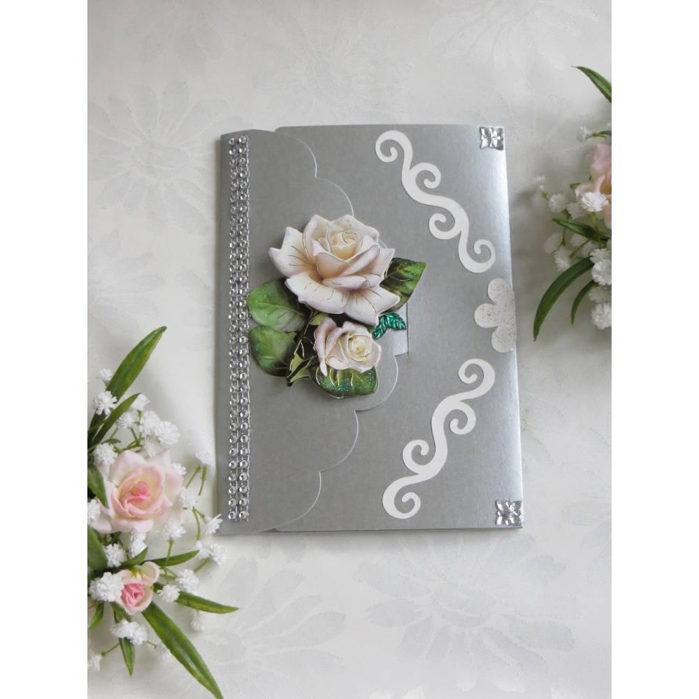 Hochzeitskarte mit weißer Rosen, Hochzeitsgeschenk, Geldgeschenk, silber weiß Bild 1
