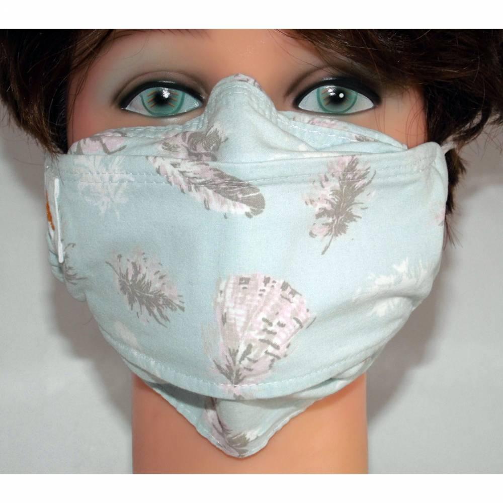 OP-Maskencover waschbare Communitymasken Federn Mund-Nasen-Masken Alltagsmasken Behelfsmasken Damen Herren Kinder Bild 1