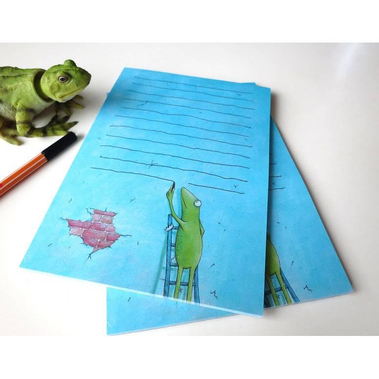 """Notizfrosch """"Viele Worte"""", 2 Stück A5, Notizblöcke, Notizblock, Schreibblock, Schreibpapier, Frosch Notizblock, witziger Notizblock, Frosch Bild 1"""
