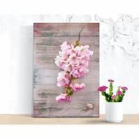 BLÜTENDIEB Blumenbild rosa Kirschblüten auf Holz Leinwand Print Wanddeko Landhausstil Vintage Shabby Chic  Bild 1