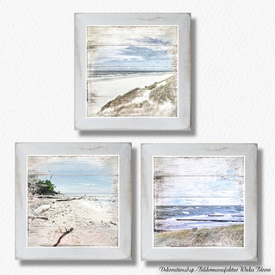 Maritimes Bild STRANDSICHTEN Triptychon auf Holz Leinwand Print Wanddeko Landhausstil Vintage Shabby Chic handmade kaufen Bild 1