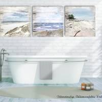 Maritimes Bild STRANDSICHTEN Triptychon auf Holz Leinwand Print Wanddeko Landhausstil Vintage Shabby Chic handmade kaufen Bild 2