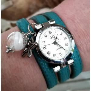 Armbanduhr,Wickeluhr, Damenuhr, Kunstleder,  Uhr,Feder