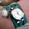 Armbanduhr,Wickeluhr, Damenuhr, Kunstleder,  Uhr,Feder Bild 1