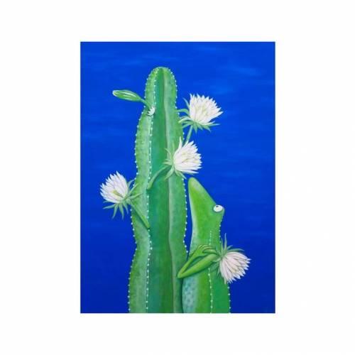 Kaktusfrosch Leinwanddruck, Kaktus, Kaktus Bild, Kakteen, Sukkulenten, witziges Bild, Bild als Geschenk, Frosch, Froschbild, Kinderzimmer