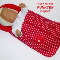 Fuß-Sack für Puppenwagen, Fuß-Sack rot mit Tupfen, Fußsack für Puppen-Sportwagen, Puppen-Schlafsack, Puppenwagen Fußsack Puppenwagen, Puppenfußsack Bild 1