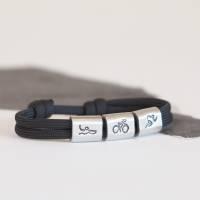 Herren Triathlon Armband personalisiert handgestempelt | Laufen | Radfahren | Schwimmen | Langdistanz  Bild 1