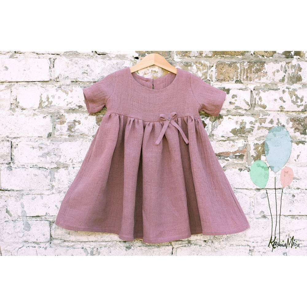 Kleid Mädchenkleid Rüschenkleid Hängerchen altrosa Leinen Bild 1