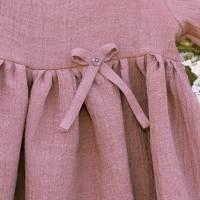 Kleid Mädchenkleid Rüschenkleid Hängerchen altrosa Leinen Bild 3