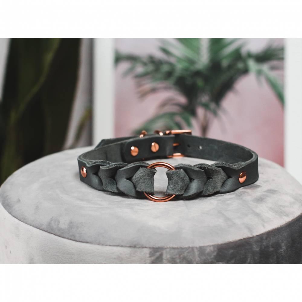 Geflochtenes Halsband aus Leder Grey Deluxe für Hunde Bild 1
