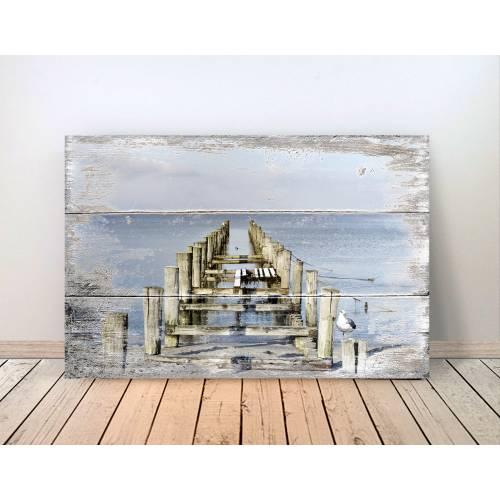 Maritimes MEERBLICK Bild auf Holz Leinwand Print Wanddeko Landhausstil Vintage Shabby Chic