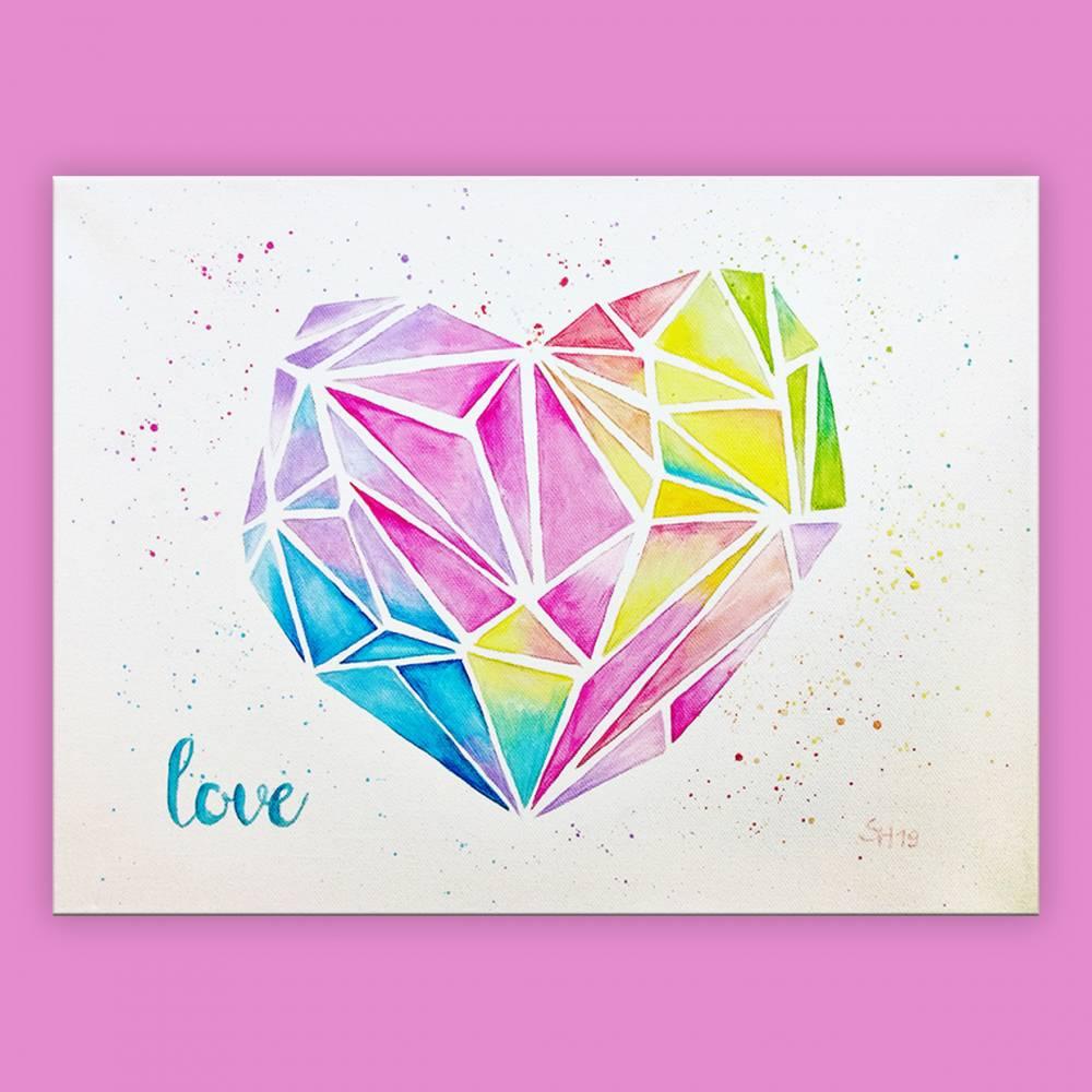 geometrisches Herz handgemalt - Einzelstück Bild 1