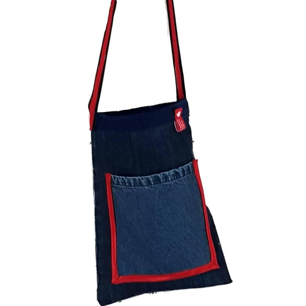 Jeanstasche, Jeans-upcycling, Stofftasche aus Marken-Jeans mit langen Henkeln,  Bild 1