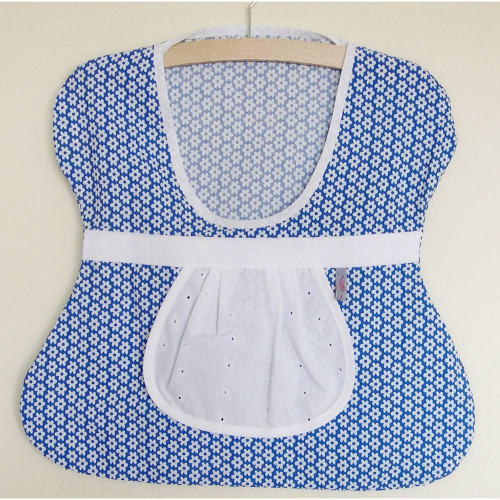 Klammerbeutel, Wäscheklammer-Beutel,blaue Blumen Klammerkleidchen, Aufbewahrung für Wäscheklammern, blauer Klammersack, Klammerbeutel mit Kleiderbügel Bild 1