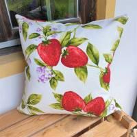 Kissenhülle - Kissenbezug - Früchte - Erdbeeren - 40 x 40 cm - Unikat Bild 1