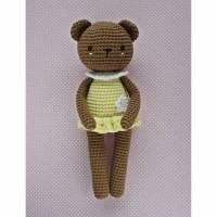 Häkelspielzeug Häkelbär Bärenmädchen Luisa aus Bio-Baumwolle braun/hellgelb Kuscheltier Bild 1
