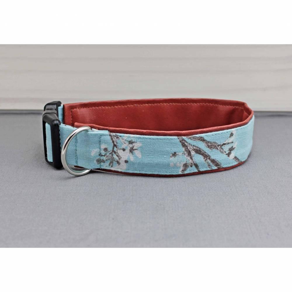 Hundehalsband mit Kirschblüten, hellblau und weiß, geblümt, mit Kunstleder in braun, Blumen, boho, floral, blau, Hund, Halsband Bild 1
