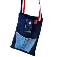 Jeans-upcycling, Stofftasche aus Marken-Jeans mit langen Henkeln, Jeanstasche,  Bild 1