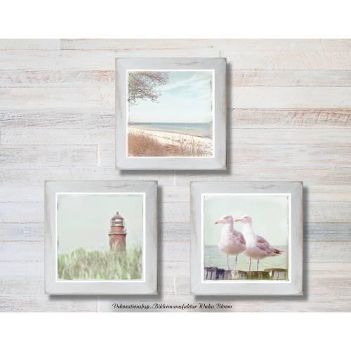 Maritimes Bild DARßER SOMMER Triptychon auf Holz Leinwand Print Wanddeko Landhausstil Vintage Retro handmade kaufen
