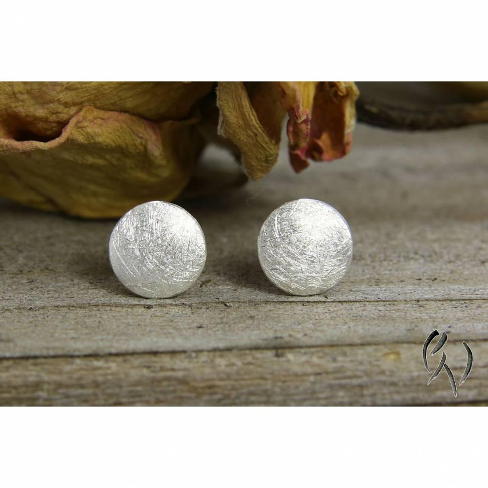 Runde Ohrstecker aus Silber 925/-, kleiner Vollmond, eismatt Bild 1