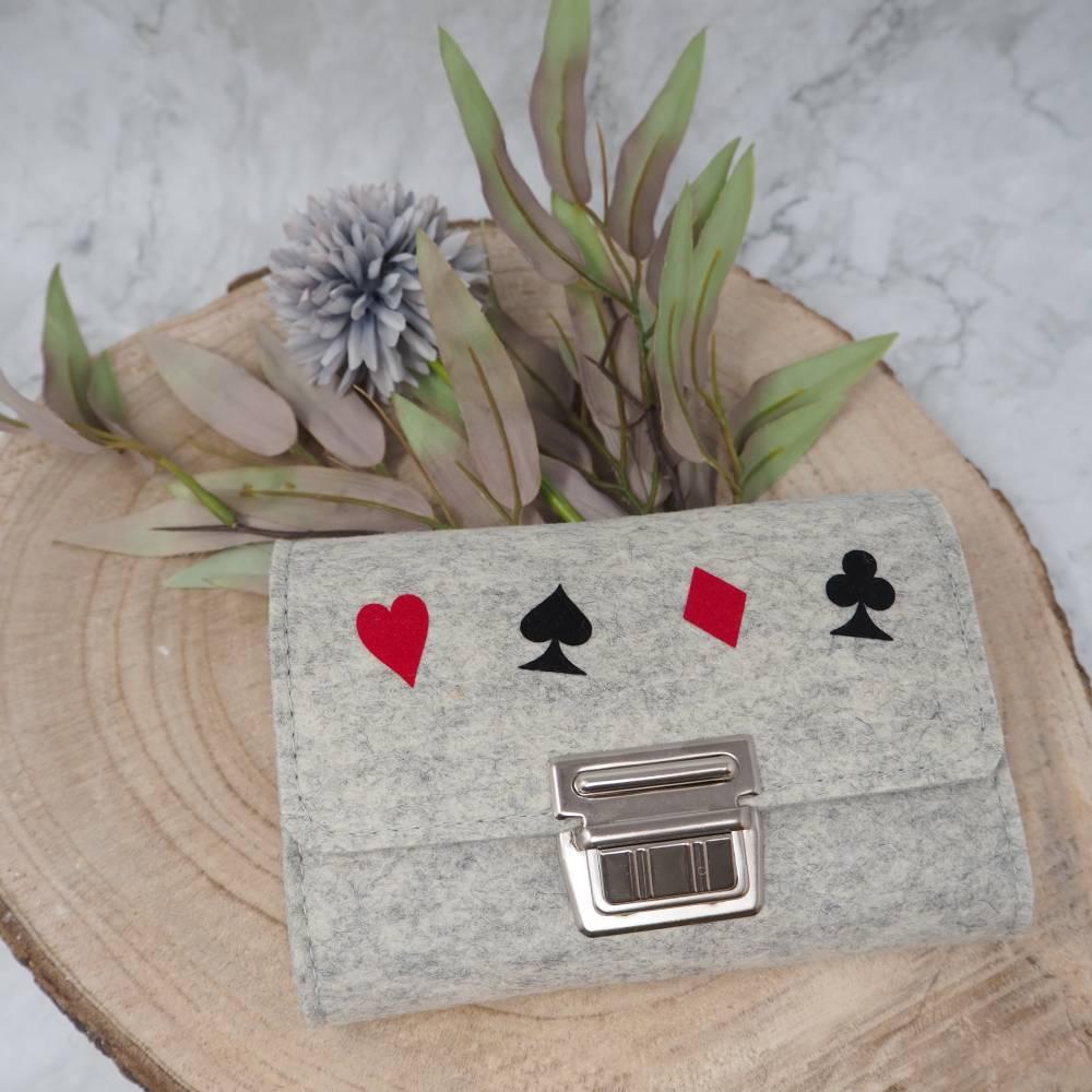 Spielkarten-Etui, Karten-Etui aus Filz Wollfilz Bild 1