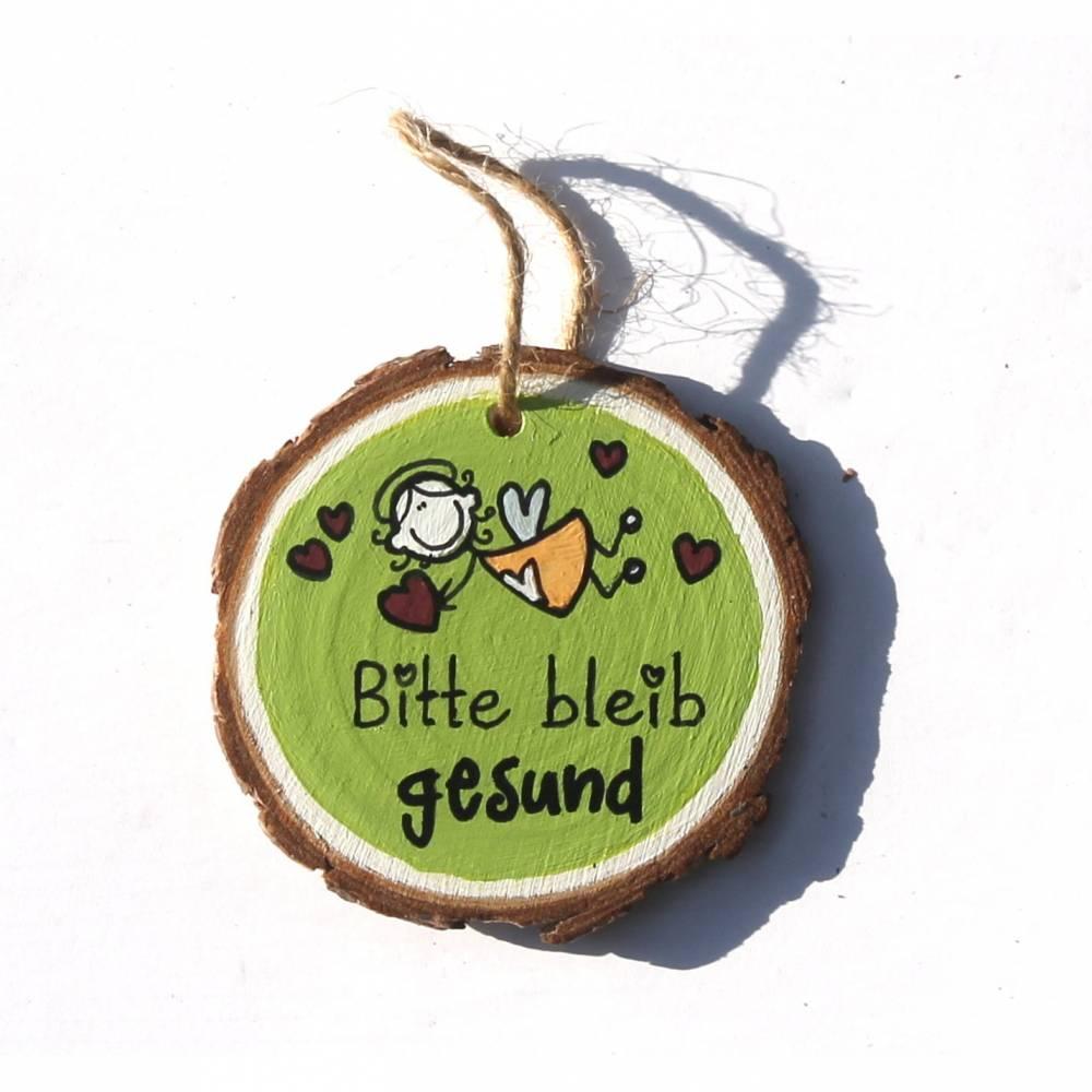 Glücksbringer Mutmacher Dankeschön Schutzengel FLIEGEND in Maigrün  auf kleiner Holzscheibe Bitte bleib gesund Bild 1