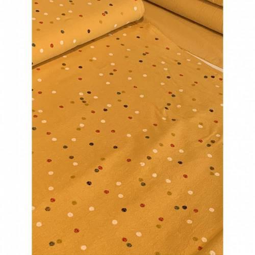 Stoff bunte Punkte gekochte Baumwolle senfgelb