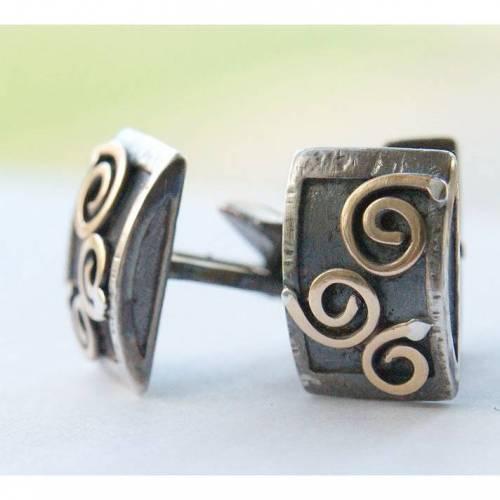 Manschettenknöpfe aus Sterlingsilber mit Bronze Spiralen