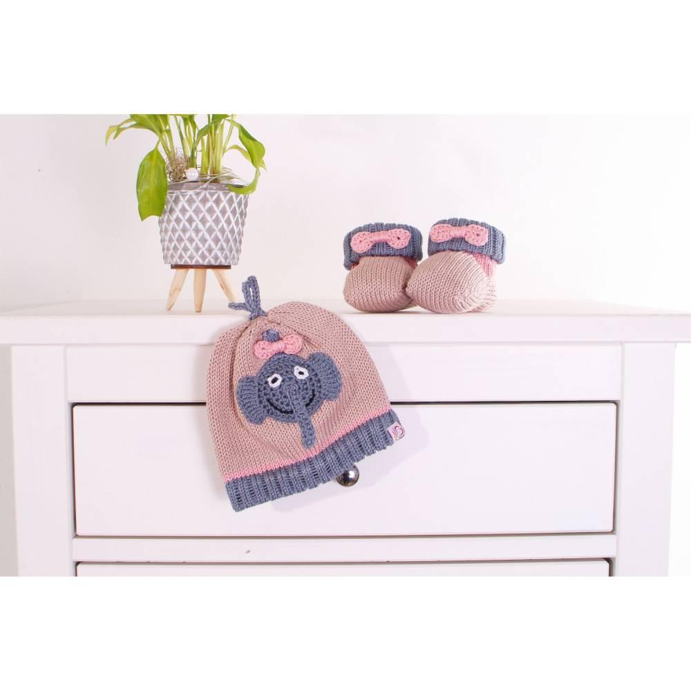 Babyset Kinderset Mütze Schuhe Elefant Wunschgröße Bild 1